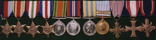 Medal Awards from left to right: 1939-45 Star, Africa Star, Italy Star, France and Germany Star, Defence Medal, War Medal, Korea UK, Korea UN, Czechoslovakia Cross, Polish Cross, American Distinguished Service Cross