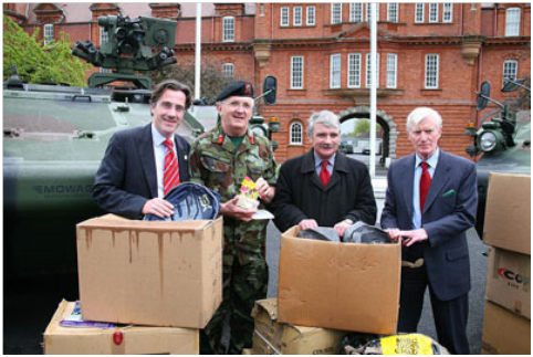 From left, Dr. Tim Campbell, Director of The Saint Patrick Centre, Maj Gen Dave Ashe, Deputy Chief of Staff (Support), Minister of Defence Willie O'Dea T.D. & Maj Gen Patrick Nowlan (Retd), Chairman of the Military Heritage of Ireland Trust. (Photograph taken by Airman Billy Galligan of An Cosantóir.)