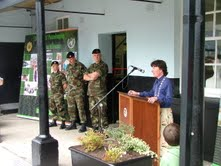 Cllr. Ruth Illingworth, Chairperson of Mullingar Town Council opens the Museum. Lt. Col. Armstrong, O.C. 4th F.A.R., and Sgt. Craig, Curator, in background.